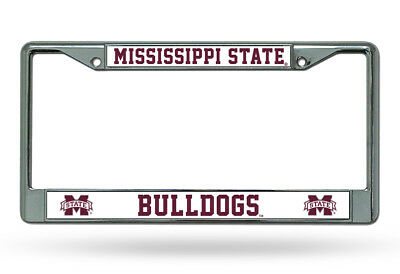 Mississippi State Bulldogs Car Truck Tag License Plate Frame Chrome White Maroon