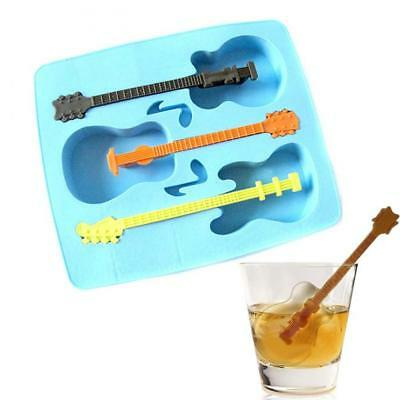 Funny Guitar Shape Silicone Mould Maker Ice Cube Jelly Freeze Stir Chill Tray