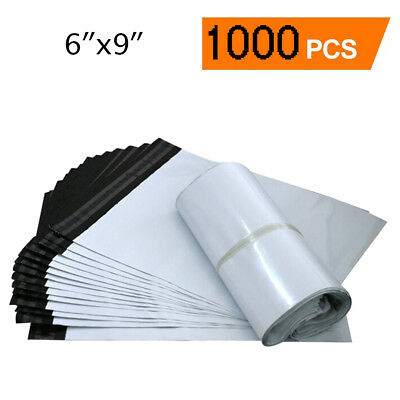 1000 Poly Mailers 6x9 Shipping Envelopes Self Sealing White Plastic Bags 2.5 Mil