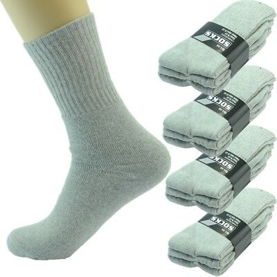 3-12 Pairs Mens Gray Solid Sport Athletic Work Crew Socks Cotton Long Size 10-13