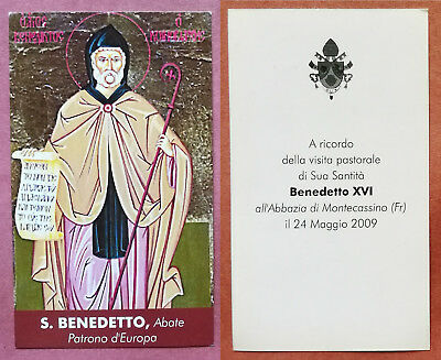Santino Holy Card: S. San Benedetto, Abate - Patrono d'Europa