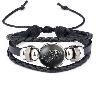 Multilayer Leather Bracelets Game of Thrones House of STARK Wolf Glass
