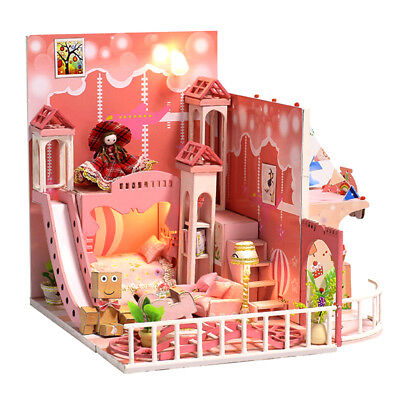 DIY Miniature Dollhouse Project Kit with LED Light, Dust Cover & Music Box