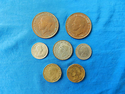 Lot of 7 Vintage British Coins  *1936-64*   *XF*   *Shilling, Penny, Pence*