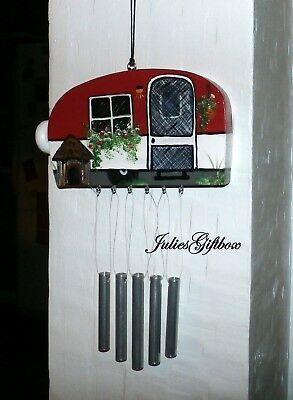 Camper Wind Chime-Red & Black-Hand Crafted-Outdoor-Fathers Day-Made in the USA