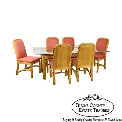 Braxton Culler Wicker Glass Top Table & 6 Chairs Dining Set