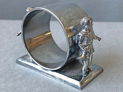 Antique Victorian Figural Silverplate Napkin Ring Two Bugle Boys Middletown #340