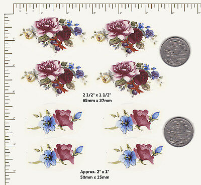8 Waterslide ceramic decals Decoupage  Burgundy and blue flowers Floral P61