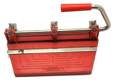 Vintage Red Boston Heavy Duty 3 Hole Adjustable Punch Made in USA Used