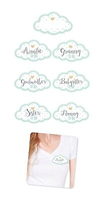 Guest Stickers - Pack of 18 Baby Shower Party Guests Name Tags. Unisex Clouds