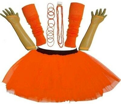 New Girls Neon Uv Tutu Skirt Set Hen Party 80'S Fancy Dress Accessories Orange
