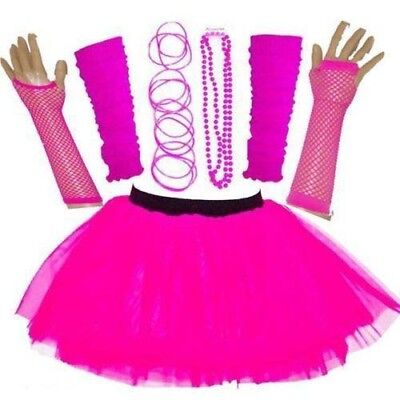 NEW Kids 80'S FANCY DRESS NEON UV TUTU SKIRT SET HEN PARTY ACCESSORIES PINK 5-10