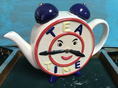 "Vintage Tea Pot ""Tea Time"" Clock Face  Hand Painted"