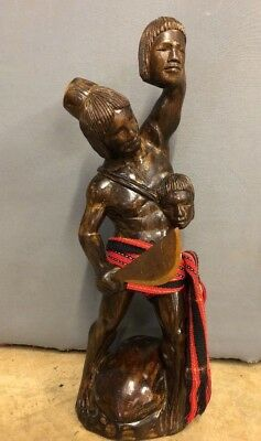 "Vintage Tribal Headhunter Carved Wood Wooden Statue Sculpture 24"" Tall"