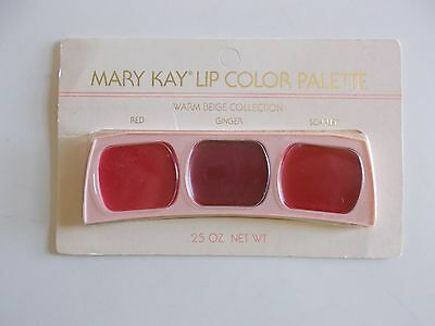 Vintage Mary Kay Lip Color Palette Warm Beige Collection - Red, Ginger, Scarlet