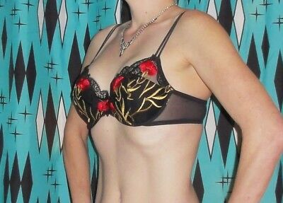 Vintage Black Push Up Bra 34 B gold red embroidery pin up clothing girl retro