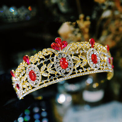Vintage Baroque Wedding Bridal Red Crystal Queen Gold Crown Pageant Prom Tiaras
