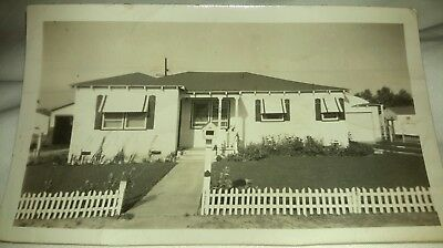 Vintage Old 1947 Photo of New Home House White Picket Fence Awnings Madera CA.