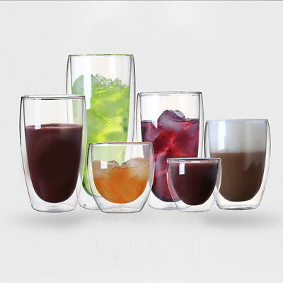 Double Wall Thermo Glass Cup Mug CoolTouch Drink Espresso Coffee Tea Heat-proof