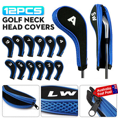 AU 12PCS Golf Club Iron Head Cover Protect Headcover Black/Blue Zipper Long Neck