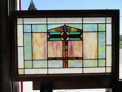 ~ ANTIQUE AMERICAN STAINED GLASS WINDOW ~ 33 x 21 ~ ARCHITECTURAL SALVAGE