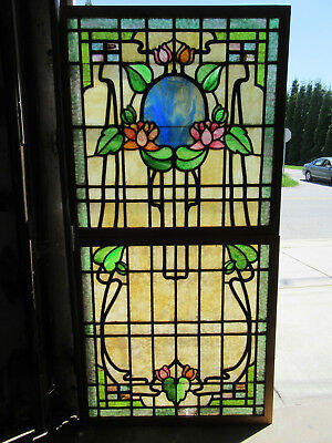 ~ Antique Stained Glass Windows Top Bottom ~ Flowers ~ Architectural Salvage