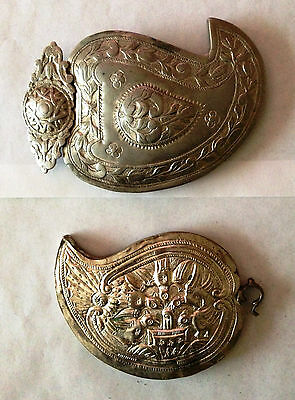 Antique 18c. Lot of two Handmade Silver Alloy Parts of Belt Buckle. Ottoman Emp