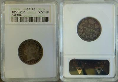 Just Reduced!! 1858 Canada 20C Anacs Ef 40