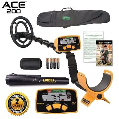 Garrett ACE 200 Metal Detector with Waterproof Coil Pro-Pointer II and Carry Bag