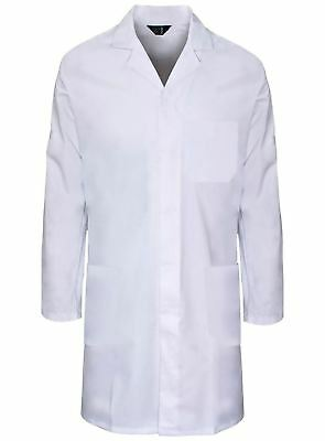 Unisex White Poly Cotton Lab Coat Adult Laboratory Warehouse Medical Work Coat
