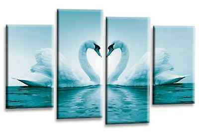 Love Art Picture Teal White Swans Heart Kissing Canvas Wall Print 112 cm