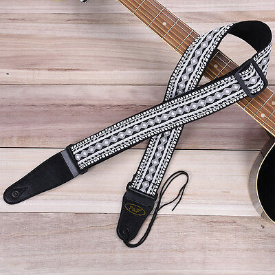New Thick Cotton Strap Leather End for Electric Acoustic Guitar Bass Adjustable