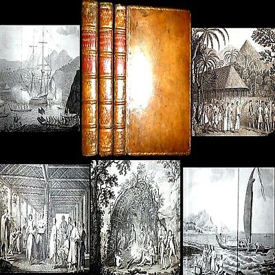 1773 First Voyage Captain James Cook Hawkesworth 1St Edition 3Vls 52 Illus Maps