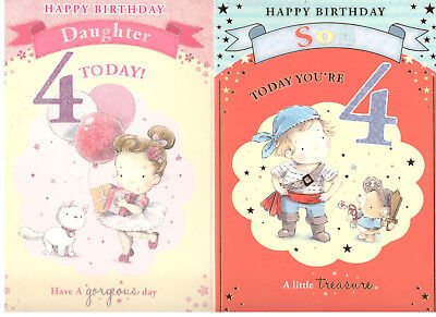 4 Year Old Birthday Card For SonDaughterNephewNieceGrandson