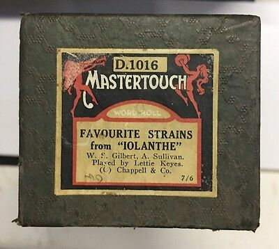 "Pianola Piano Roll Favourite Strains From ""iolanthe"" Mastertouch D.1016"