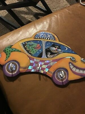 Buggy Whip Cat Studio Cat And Fish Taxi Wall Hook