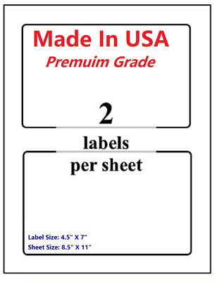 "Premium Shipping Blank Labels-7"" X 4.5""-Made in USA-Self Adhesive-8.5 x 11-Round"