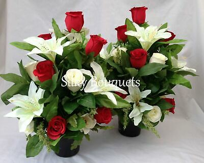 Grave Pot Silk Flower Arrangement Pair All Round Artificial Rose Memorial Grave