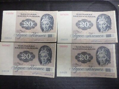 Lot Of Four (4) 20 Kroner Danish Bank Notes