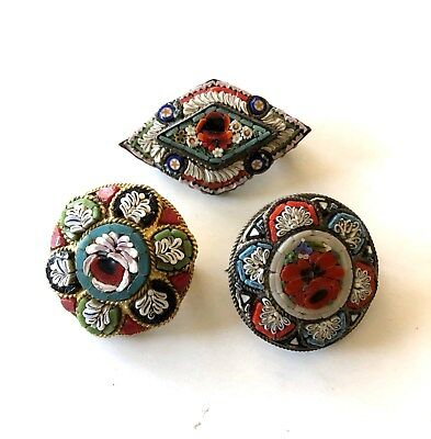 Antique Vintage Italian Micro Mosaic Glass Small Floral Brooch  Lot of 3