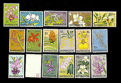 BARBADOS. Orchids. 1974-77 Scott between 396 & 411b. MNH (38)