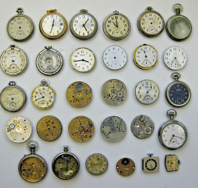 Lot of Vintage Pocket Watches - Plus Parital Movements - Cases - Pieces
