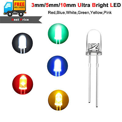 Ultra Bright LEDs 3mm 5mm 10mm Red,Blue,White,Yellow,Green,Pink,UV,Warm White 50