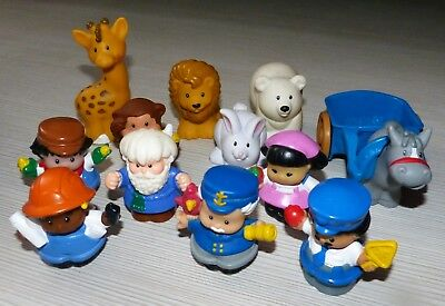 LOT de 12 figurine PERSONNAGES & ANIMAUX + CHARRETTE LITTLE PEOPLE FISHER PRICE