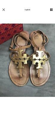 bad049ce81f2 TORY BURCH Phoebe Chandler Flat Thong Sandal Tan   Gold Sz 11 Miller  K15