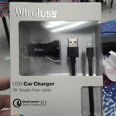 Just Wireless 5ft Micro Usb Car Charger w/ Qualcomm Quick Charge 2.0