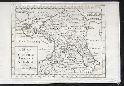 1730 DISPLAYABLe Copper Plate MAP ENGRAVING Ancient Roman Empire COLCHIS Iberia
