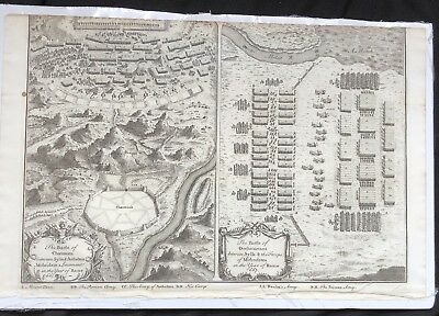 1730 Copper Plate MAP ENGRAVING Roman Empire BATTLES OF CHAERONEA & ORCHOMENOS