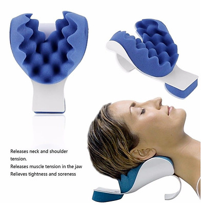 Neck and Shoulder Relaxer Pillow Relief Pain Device Traction Best Tmj Muscle New