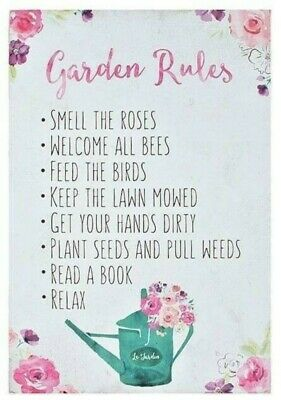 Floral Fusion Garden Rules Sign - Hanging Plaque Wooden Home Shed Birthday Gift
